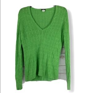 J Crew linen sweater large v neck green cable knit